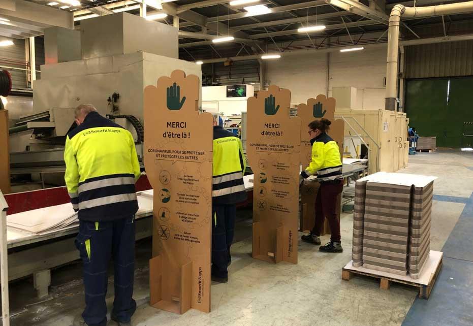 Workplace separators being used in Smurfit Kappa plant in France