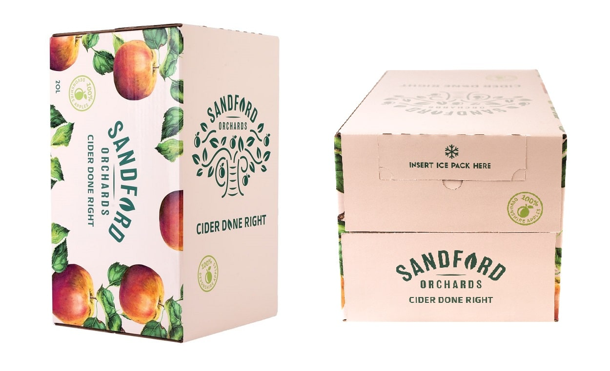 bag-in-box packaging for Sandfords cider